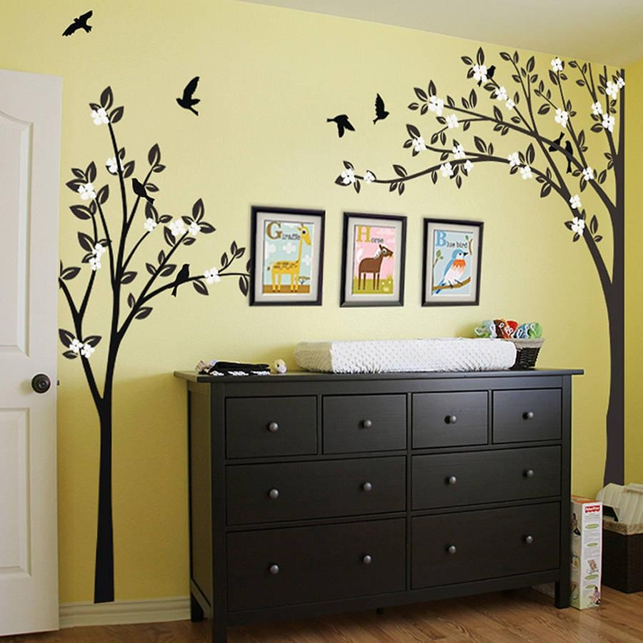Wall Art Designs: Awesome Wall Art Trees Canvas Birch Trees Wall Regarding Painted Trees Wall Art (View 6 of 20)