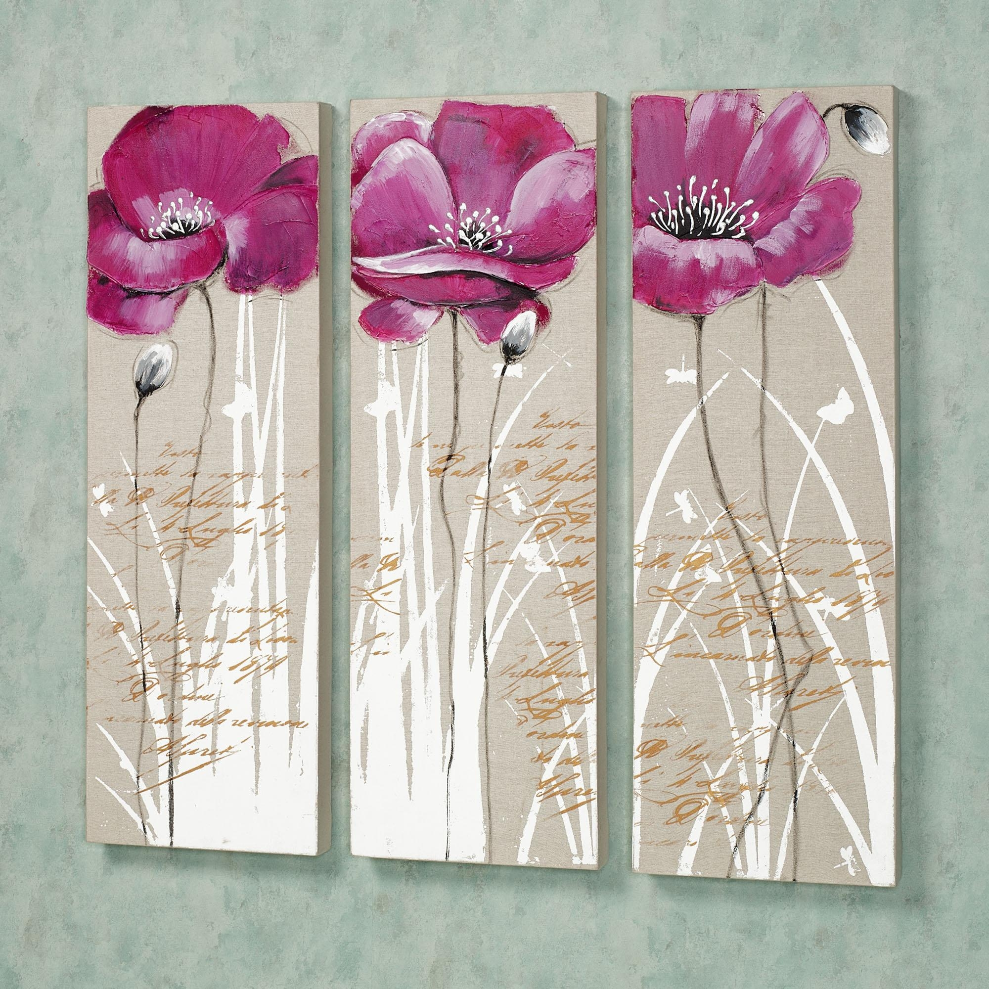 Wall Art Designs: Charming Floral Pictures Pink Flower Canvas Wall Intended For Pink Flower Wall Art (Image 17 of 20)