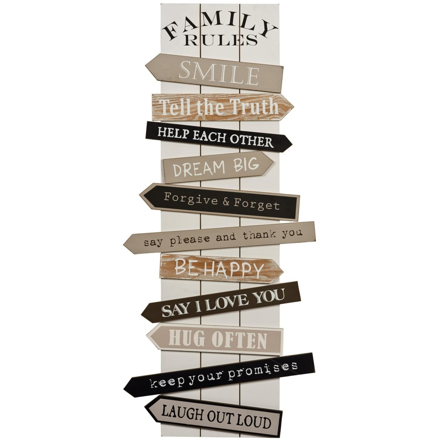 Wall Art Designs: Family Rules Wall Art Vintage Wall Art Wooden Pertaining To Wooden Word Wall Art (View 15 of 20)