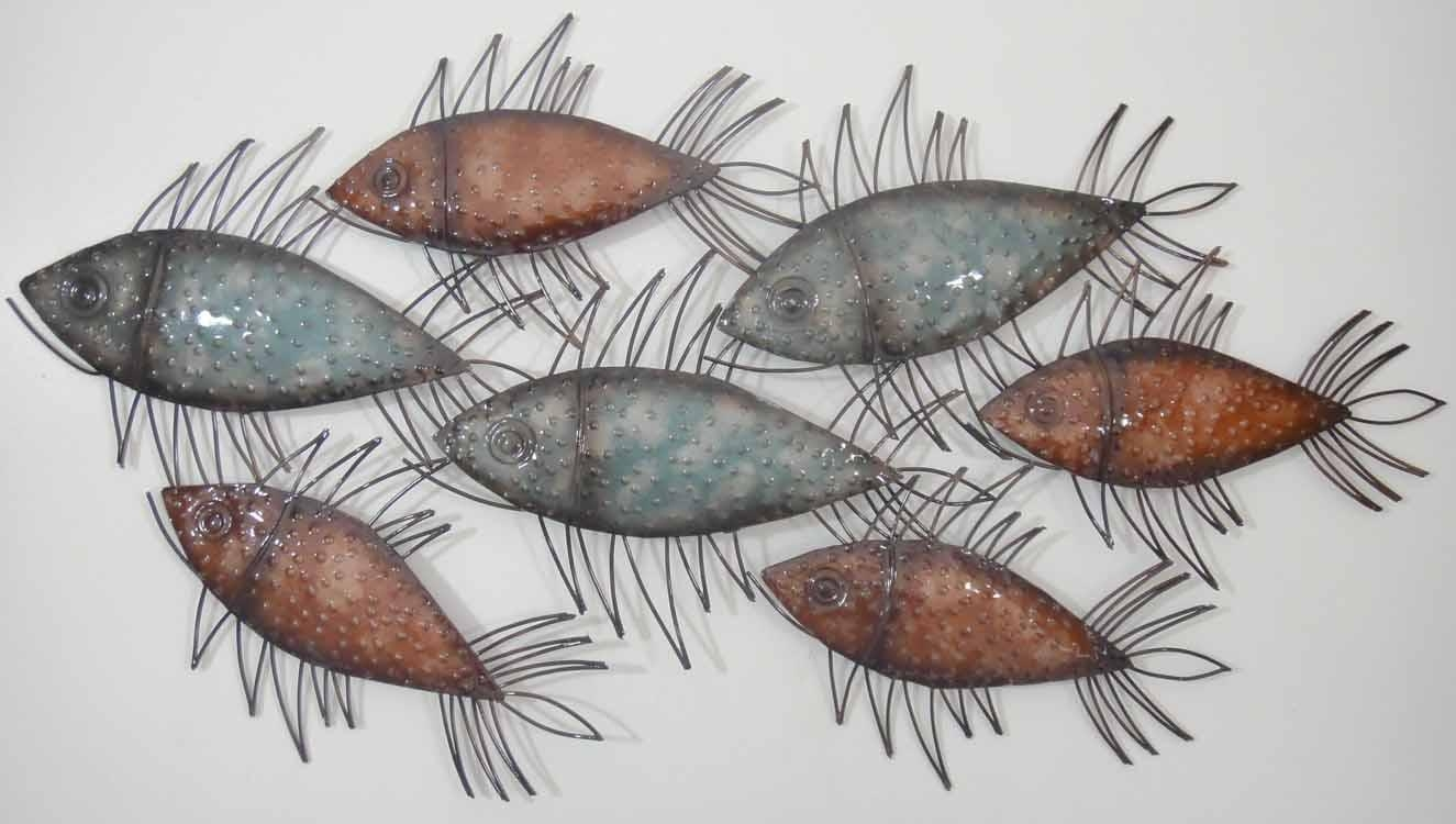Wall Art Designs: Fish Wall Art Metal Glass Wall Art Spiky Colour In Fish  Shoal