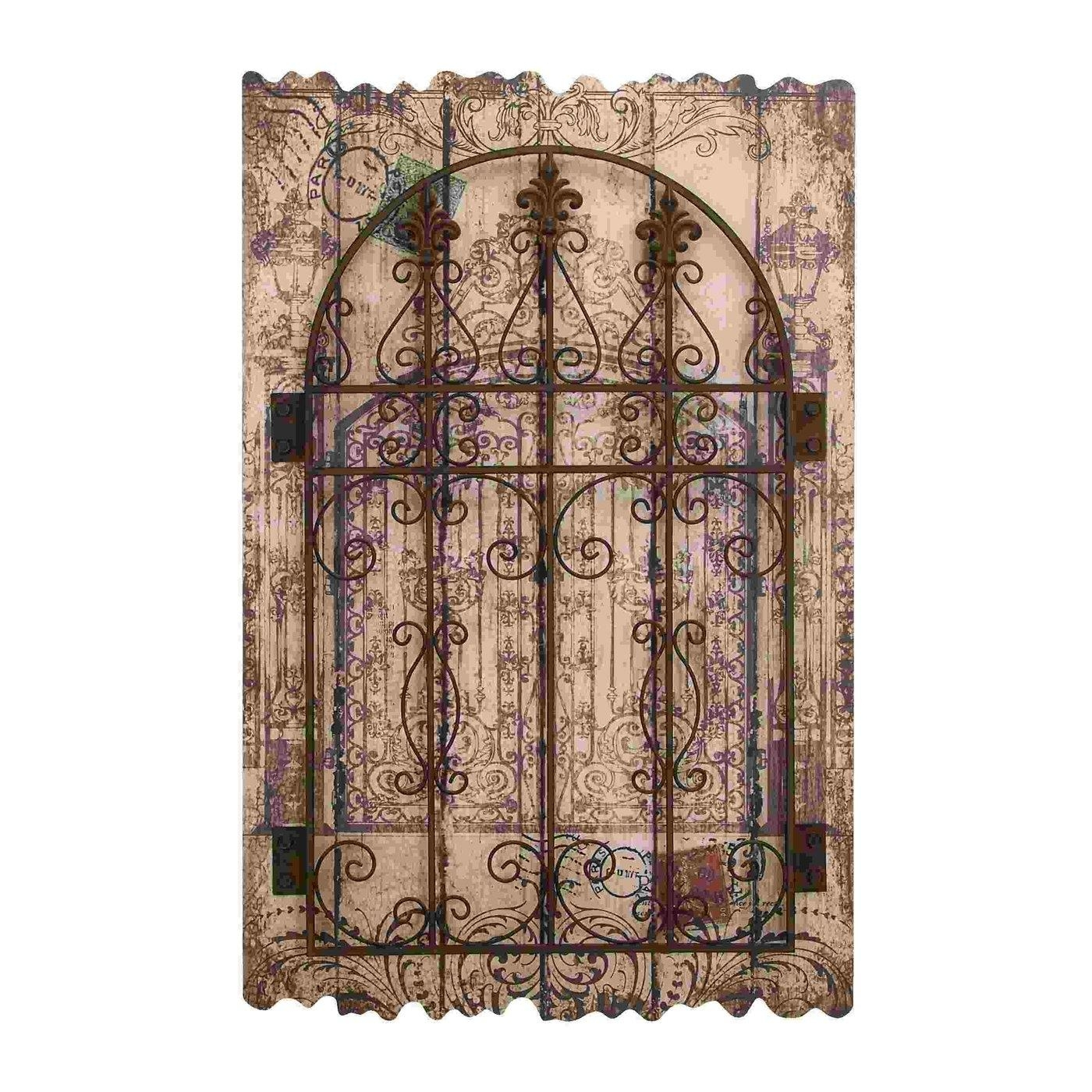 Wall Art Designs: Metal And Wood Wall Art Tuscan Carved Garden Pertaining To Metal Gate Wall Art (Image 17 of 20)