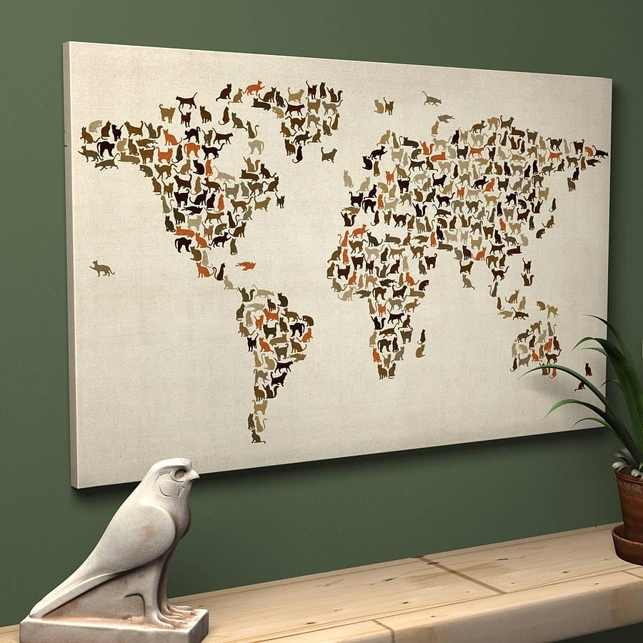 Wall Art Designs: Wall Art Map Of The World Decor Poster Large Inside World Wall Art (Image 16 of 20)