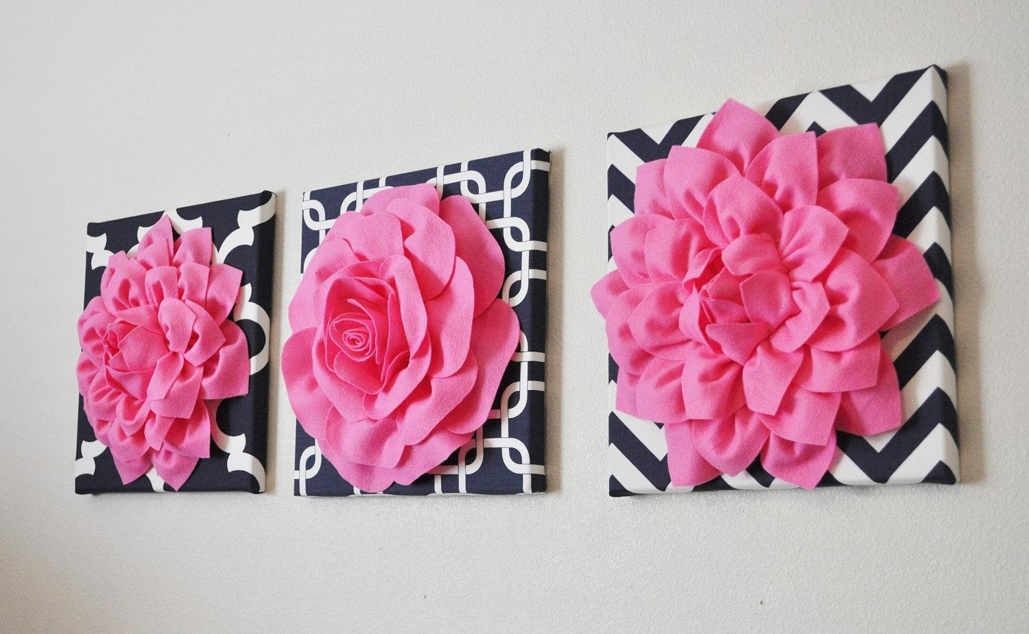 Wall Art Fabric Flower Wall Art Fabric Flower Wall Hanging For Pink Flower Wall Art (Image 18 of 20)