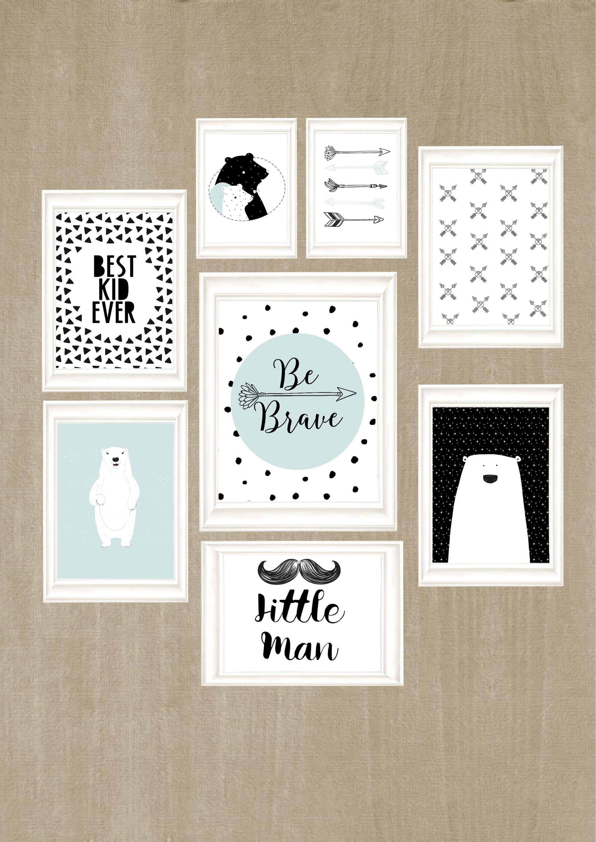 Wall Art For Kids, Black And White Kids Room, Wall Art Print Set Inside Wall Art Print Sets (View 13 of 20)