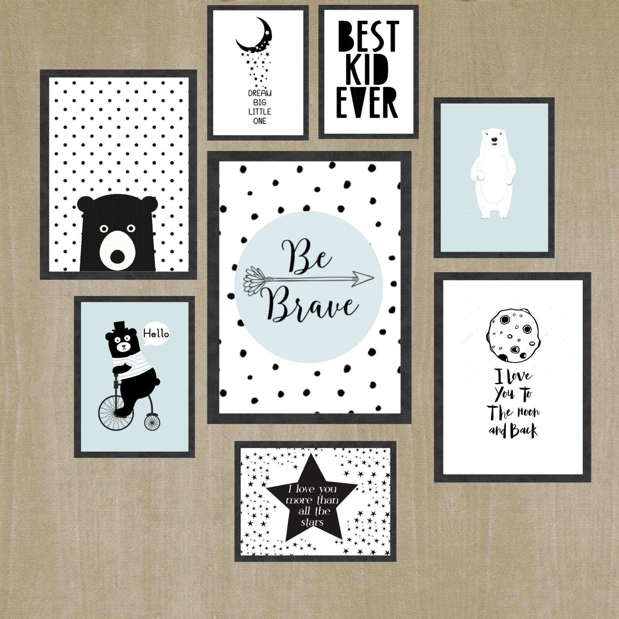 Wall Art For Kids, Black And White Kids Room, Wall Art Print Set Intended For Wall Art Print Sets (View 15 of 20)