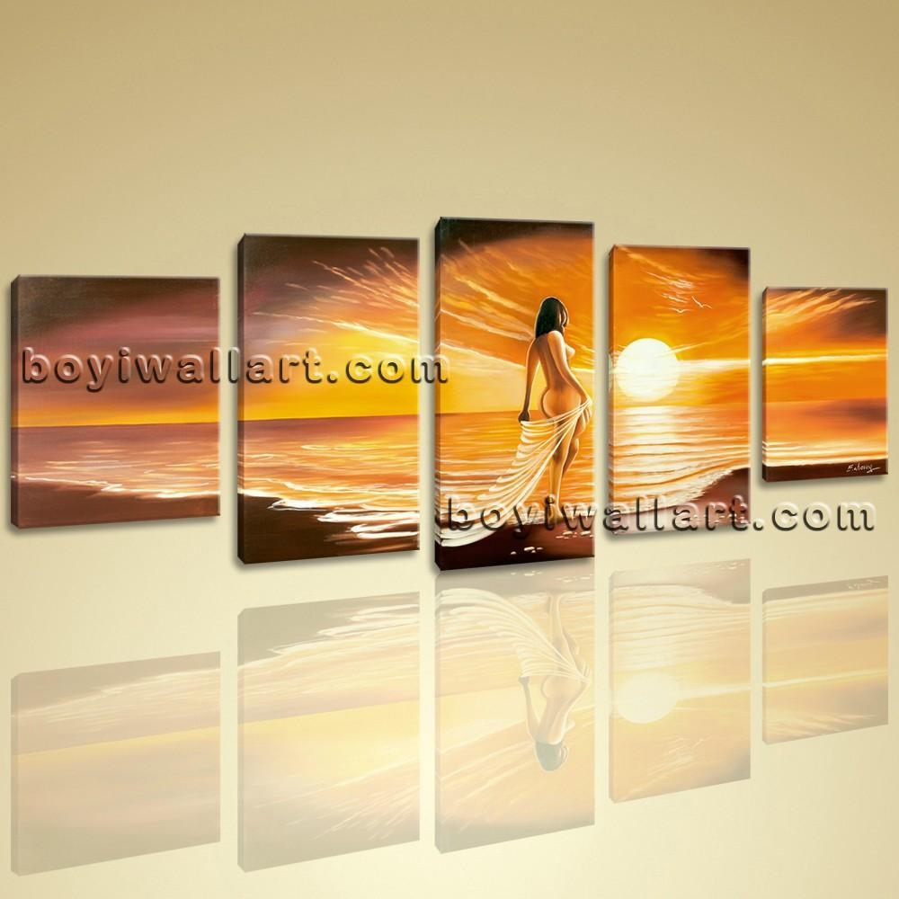 Wall Art Giclee Print Seascape Beach Nude Girl Sunset Contemporary Within Huge Wall Art (Image 19 of 20)
