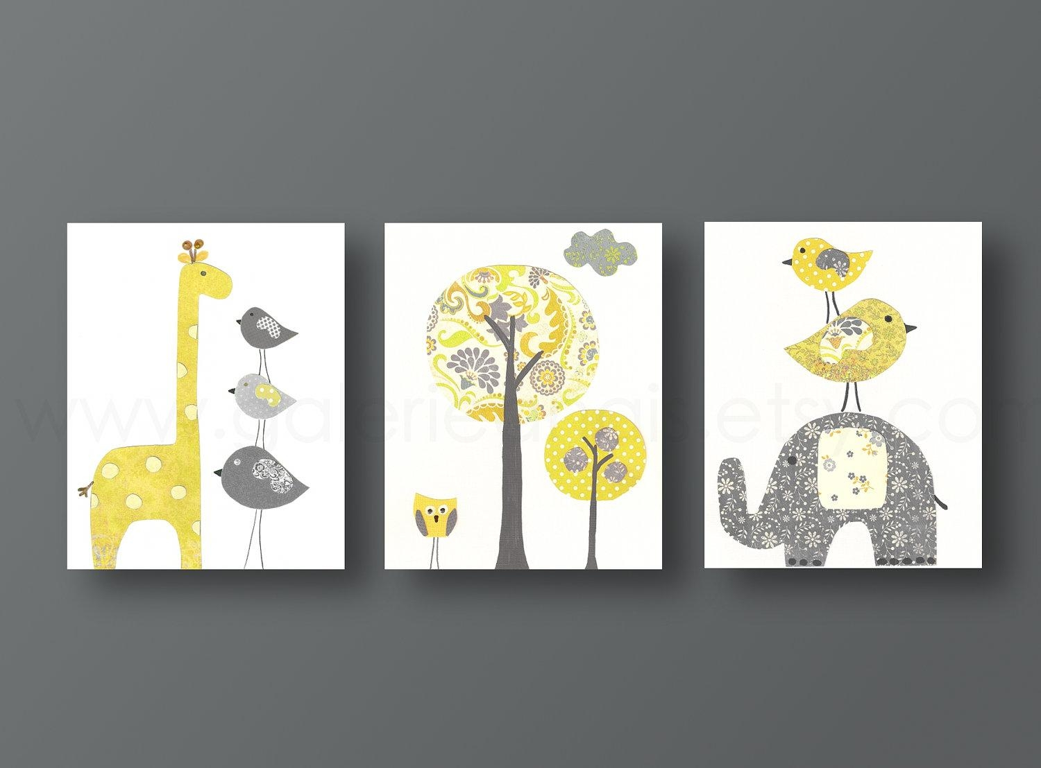 Wall Art: Glamorous Yellow And Grey Wall Art Yellow And Grey With Regard To Yellow And Gray Wall Art (Image 11 of 20)