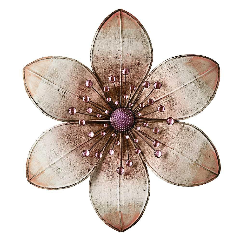 Wall Art Ideas Design : Beige Brown Flower Metal Wall Art Clover Intended For Purple Flower Metal Wall Art (View 6 of 20)