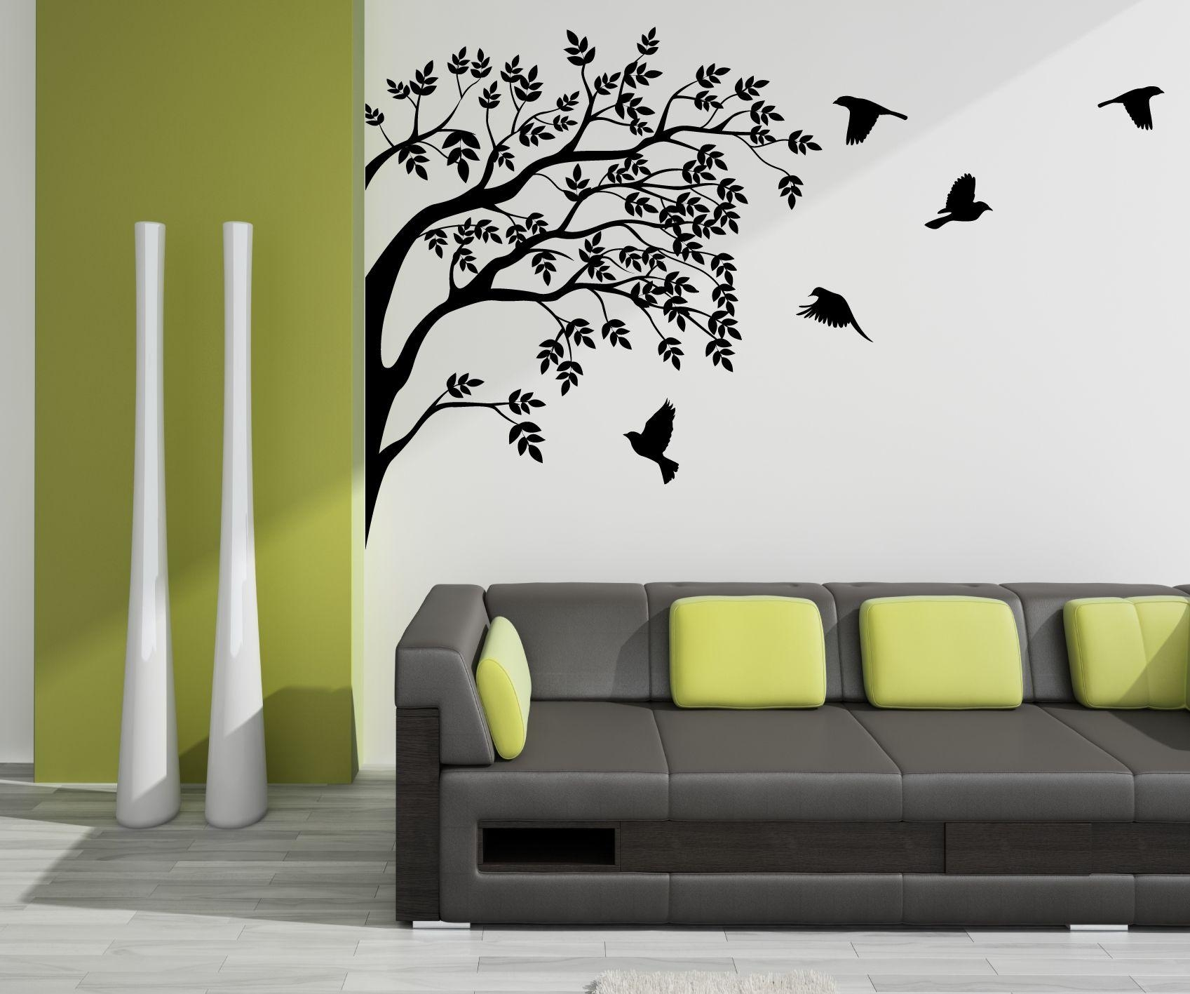 Wall Art Ideas Design : Bird Vinyl Wall Art Black Shadow Below Within Vinyl Wall Art Tree (Image 14 of 20)