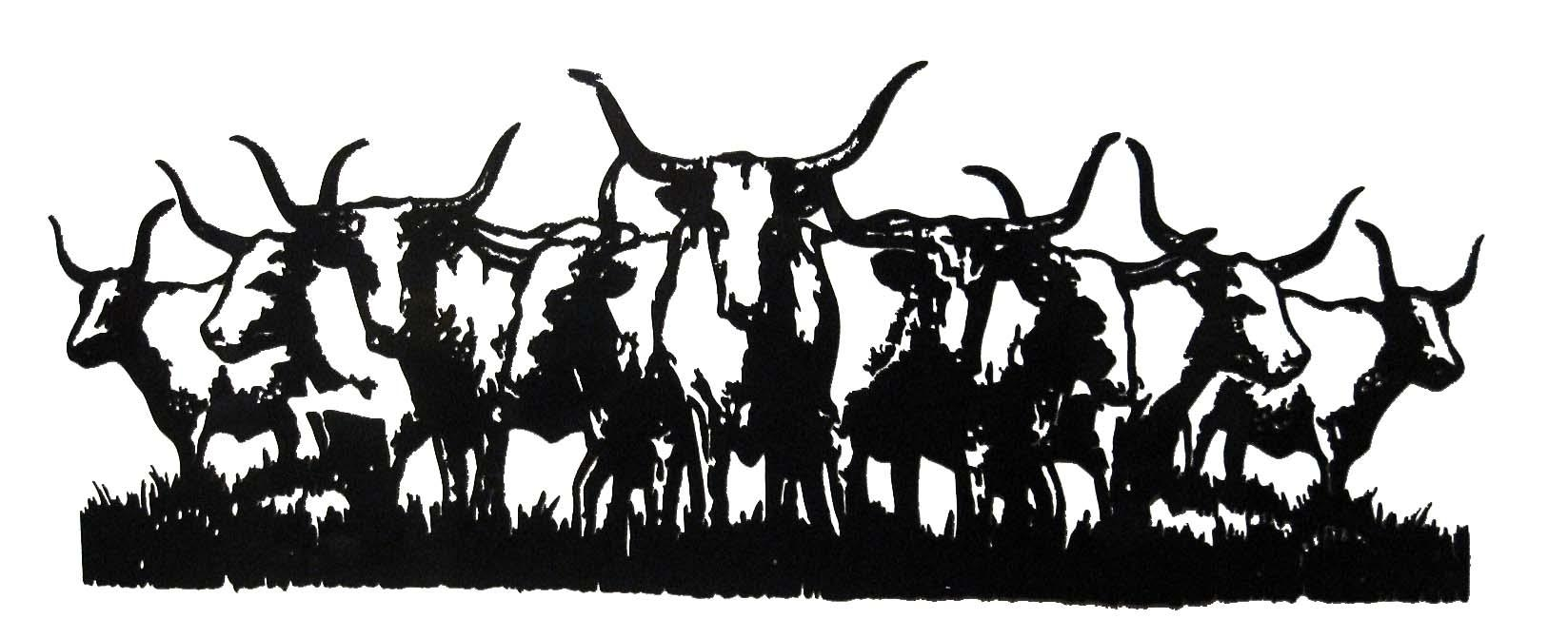 Wall Art Ideas Design : Long Horn Western Metal Wall Art Majestic within Western Metal Art Silhouettes