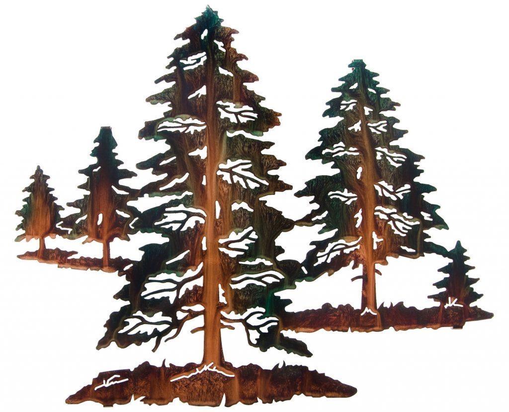 Wall Art Ideas Design : Mountain Scene Pine Tree Metal Wall Art With Regard To Mountain Scene Metal Wall Art (View 9 of 20)