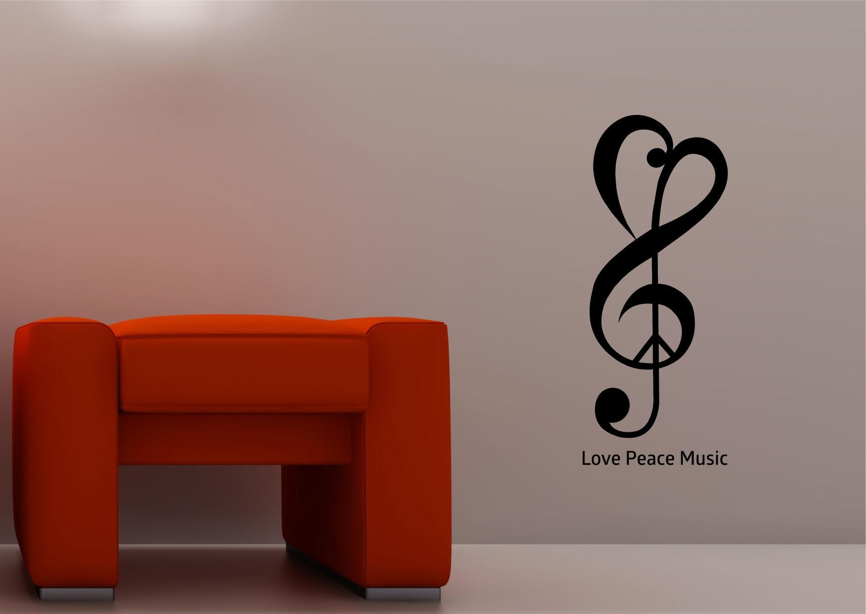 Wall Art Ideas Design : Red Chair Love Music Wall Art Heart Shaped Intended For Music Theme Wall Art (Image 17 of 20)