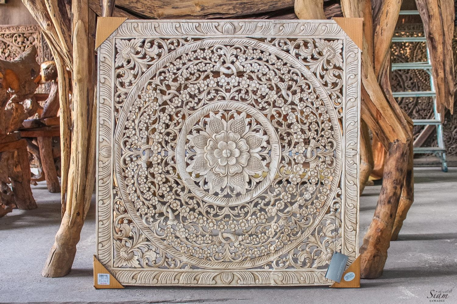 Wall Art Ideas Design : Square White Wood Carved Wall Art Washed Inside White Wooden Wall Art (Image 15 of 20)