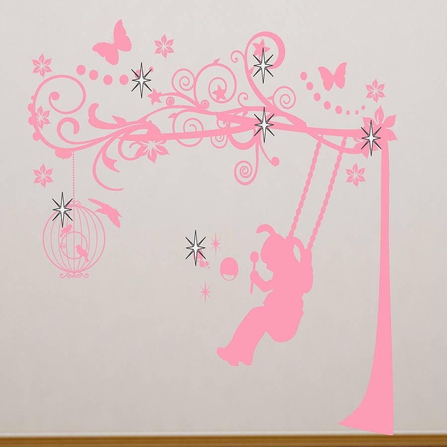 Wall Art Ideas Design : Swing Pink Girls Wall Art Simple Classic Intended For Little Girl Wall Art (View 2 of 20)