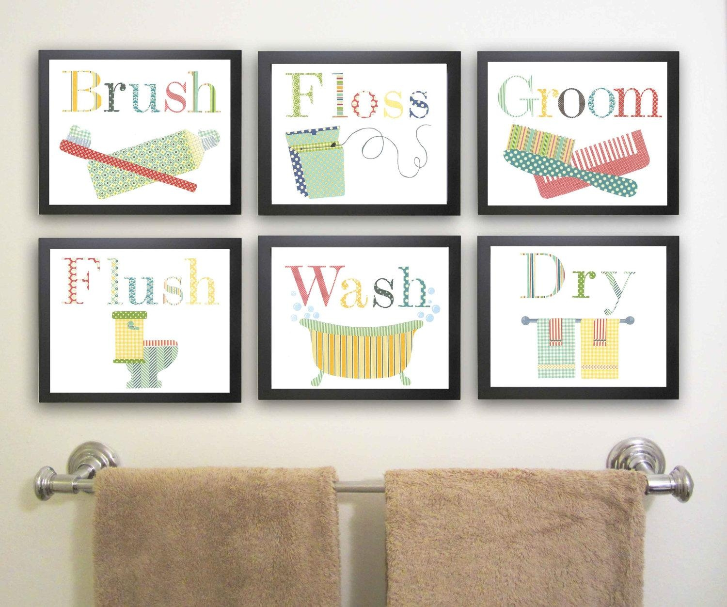 Wall Art Ideas Design : Unique Brush Art For Bathroom Wall Floss Intended For Contemporary Bathroom Wall Art (View 6 of 20)