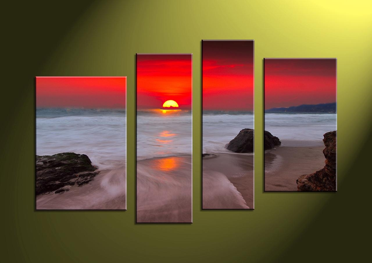 Wall Art Ideas Design : Wooden Canvas 4 Piece Wall Art Oil Intended For 4 Piece Wall Art Sets (Image 12 of 20)