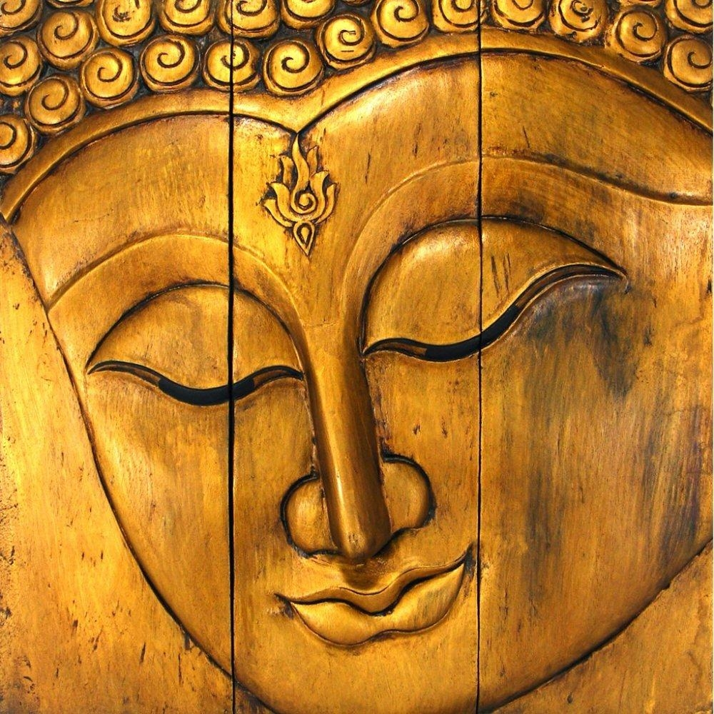 Wall Art Ideas Design : Yellow Gold Buddha Face Wall Art Amazing Intended For Buddha Wooden Wall Art (Image 16 of 20)