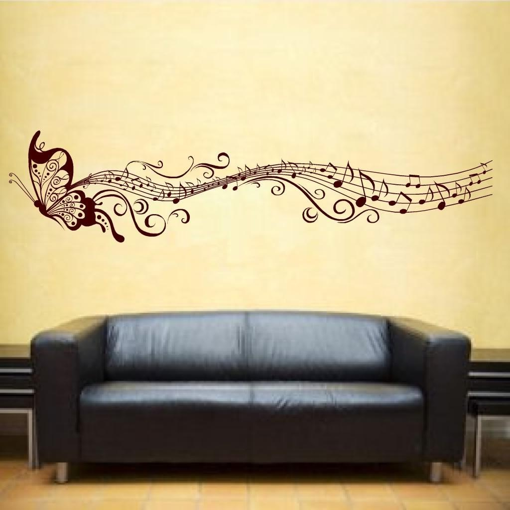 Wall Art Ideas Design : Yellow Wallpaper Wall Art Butterfly In Music Note Art For Walls (View 18 of 20)