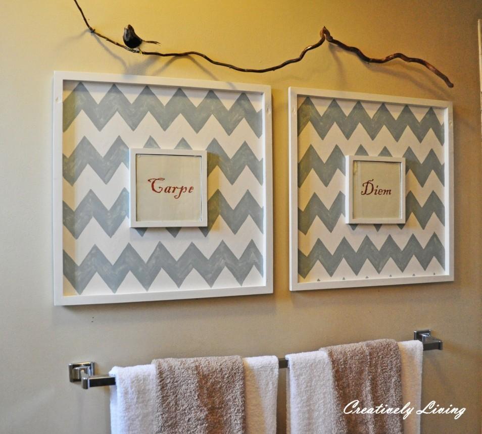 Wall Art Ideas Design : Zig Zag Art For Bathroom Wall Grey White With Contemporary Bathroom Wall Art (Image 19 of 20)