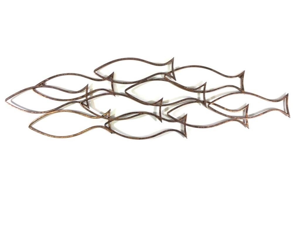 Wall Art – Large Fish Shoal Outline In Shoal Of Fish Metal Wall Art (Image 16 of 20)