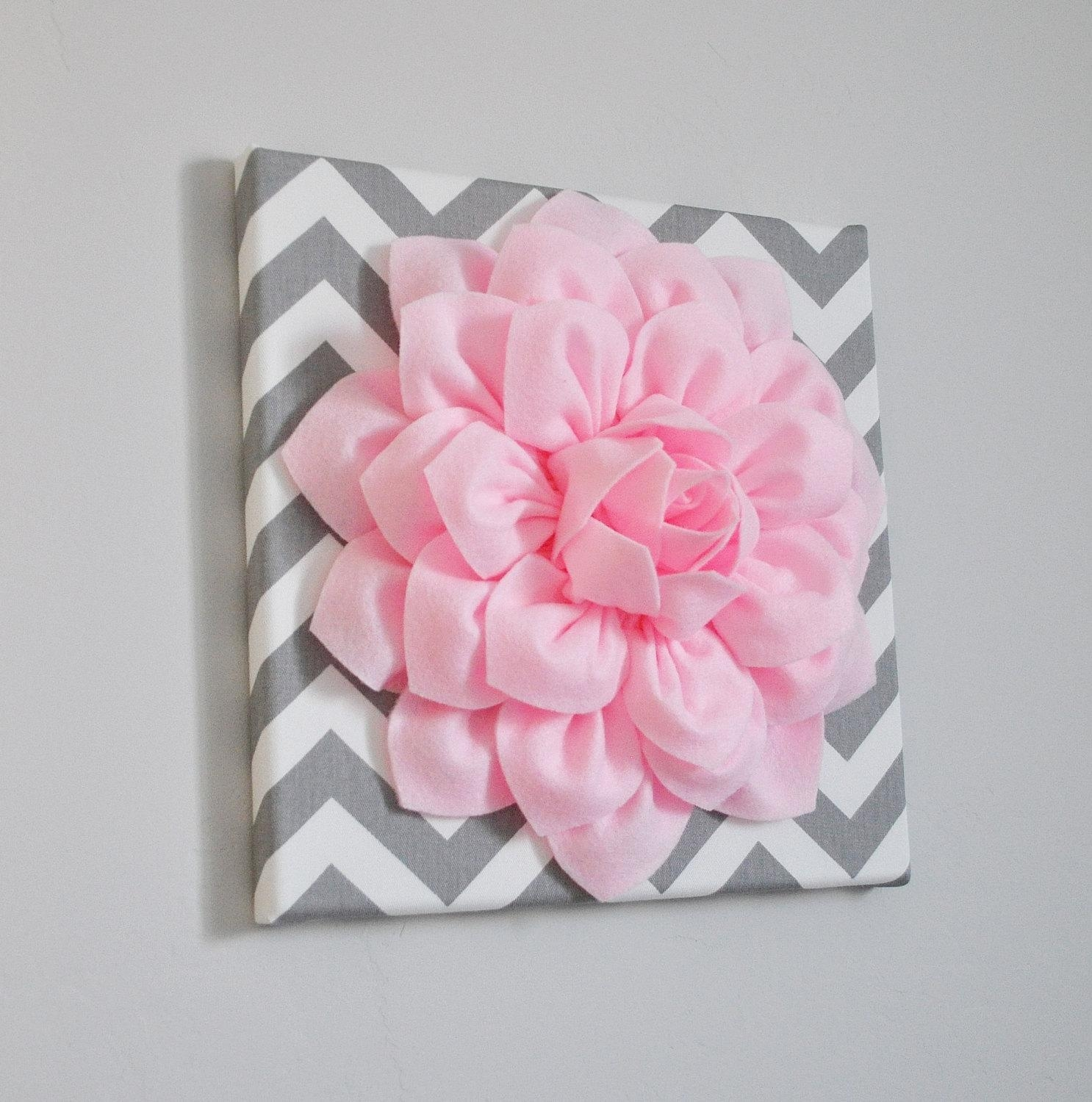 Wall Art Light Pink Dahlia On Gray And White Chevron 12 Pertaining To Pink Flower Wall Art (View 9 of 20)