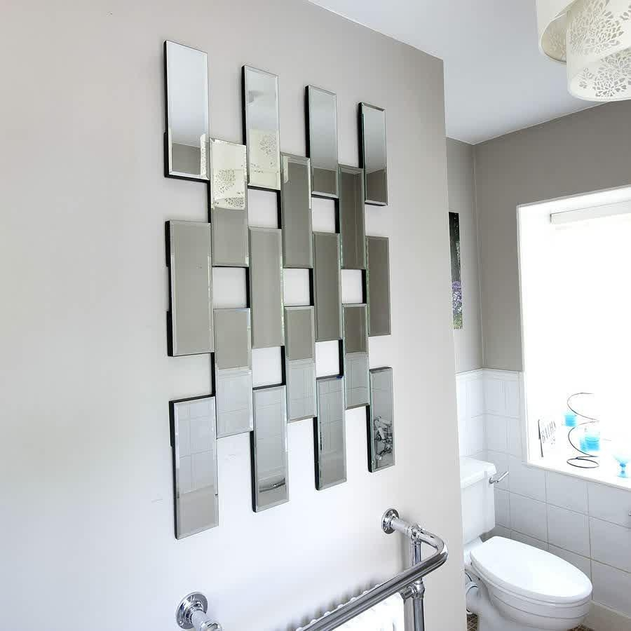 Wall Art Outstanding Chrome Decor Silver Pertaining To Abstract Mirror