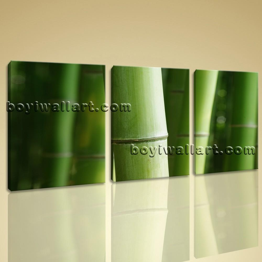 Wall Art Print Bamboo Tree Branches Home Decor Green Decorative Pertaining To Green Canvas Wall Art (View 10 of 20)