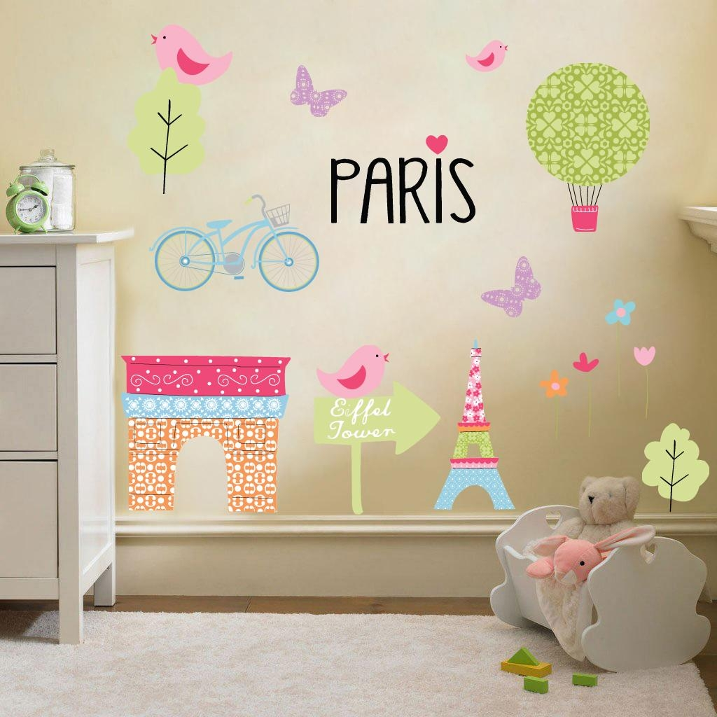 Wall Art Stickers For Childrens Bedroom ~ Color The Walls Of Your For Paris Theme Nursery Wall Art (Image 20 of 20)