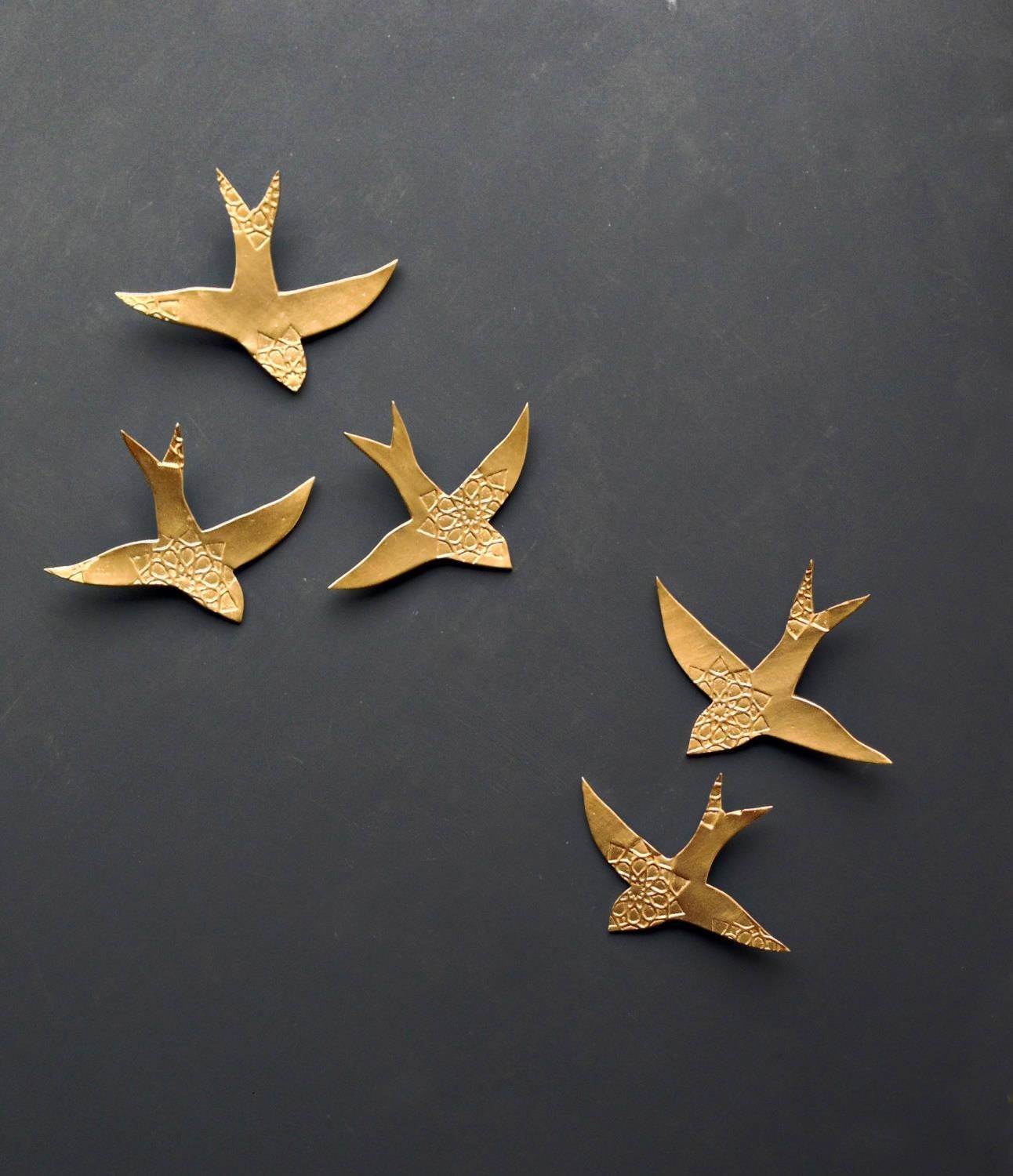 Wall Art Swallows Over Morocco Gold Birds Wall Sculpture In Ceramic Bird Wall Art (View 9 of 20)