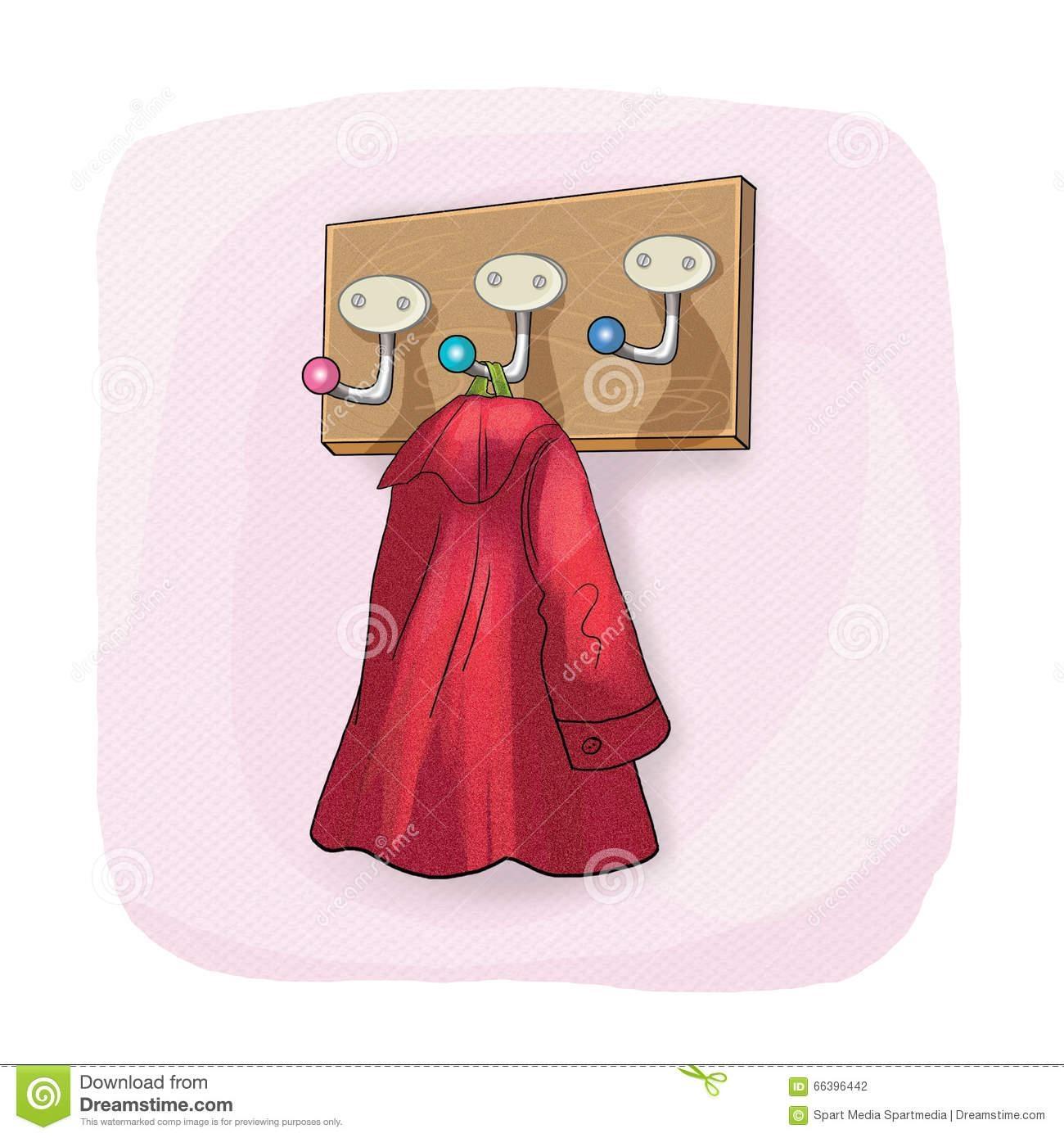 Wall Coat Rack And Coat Hook Stock Illustration – Image: 66396442 Regarding Wall Art Coat Hooks (View 7 of 20)