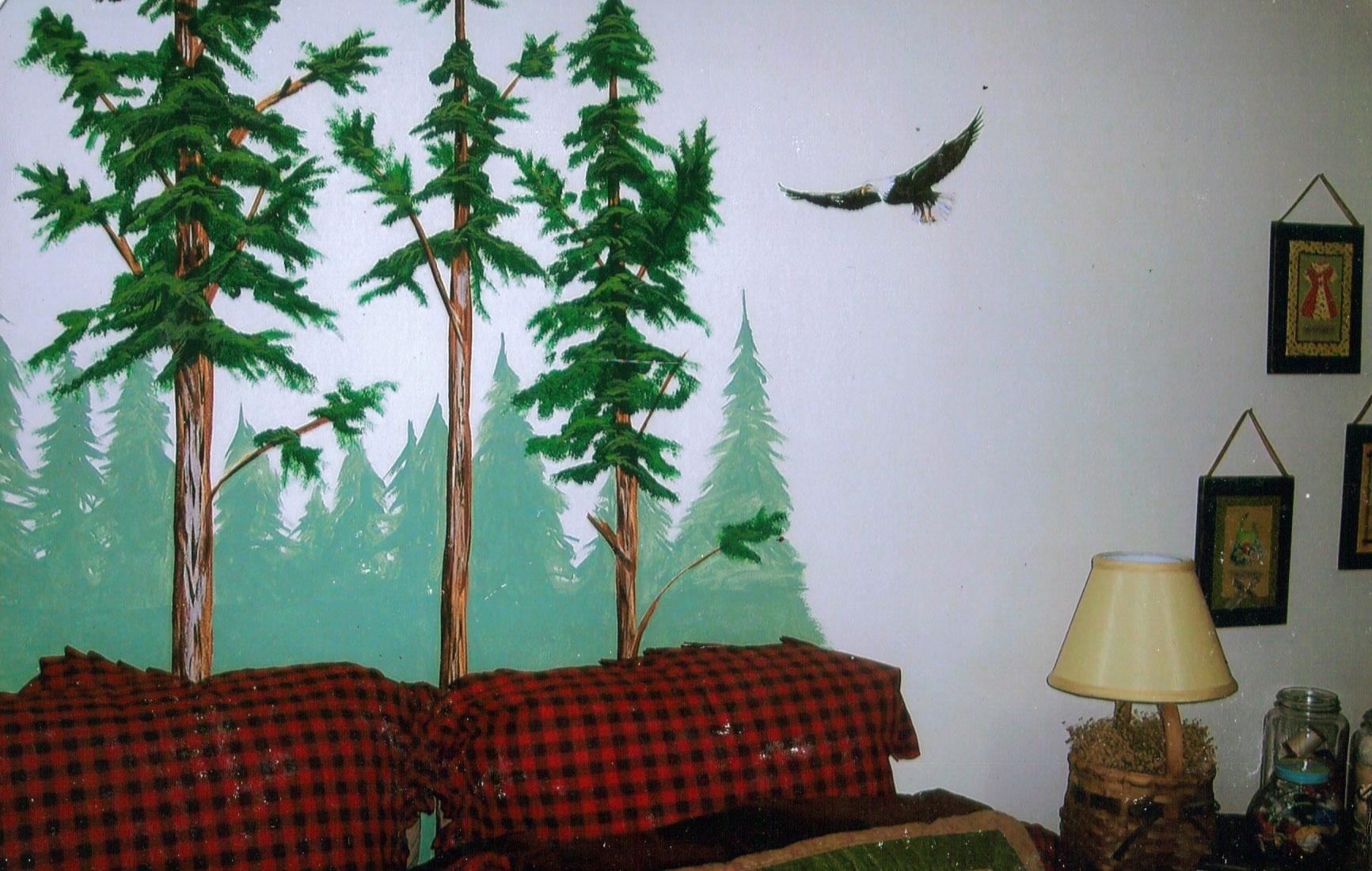 Wall Decal: Beautiful Pine Tree Wall Decal Evergreen Tree Wall With Regard To Pine Tree Wall Art (Image 20 of 20)