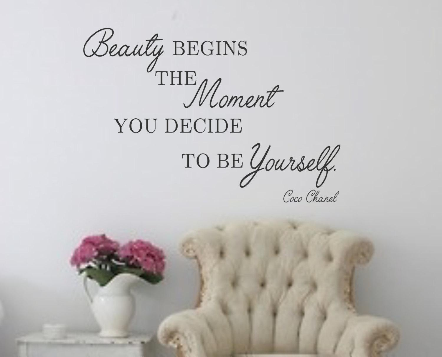 Wall Decal Beauty Begins The Moment You Decide To Be With Coco Chanel Wall Stickers (Image 18 of 20)