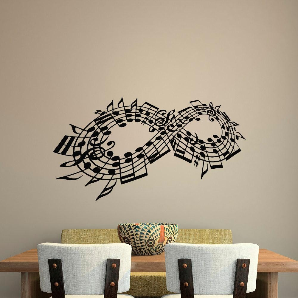 Wall Decal Music Note Decals Music Stuff Infinity Symbol Wall Throughout  Music Note Wall Art Decor
