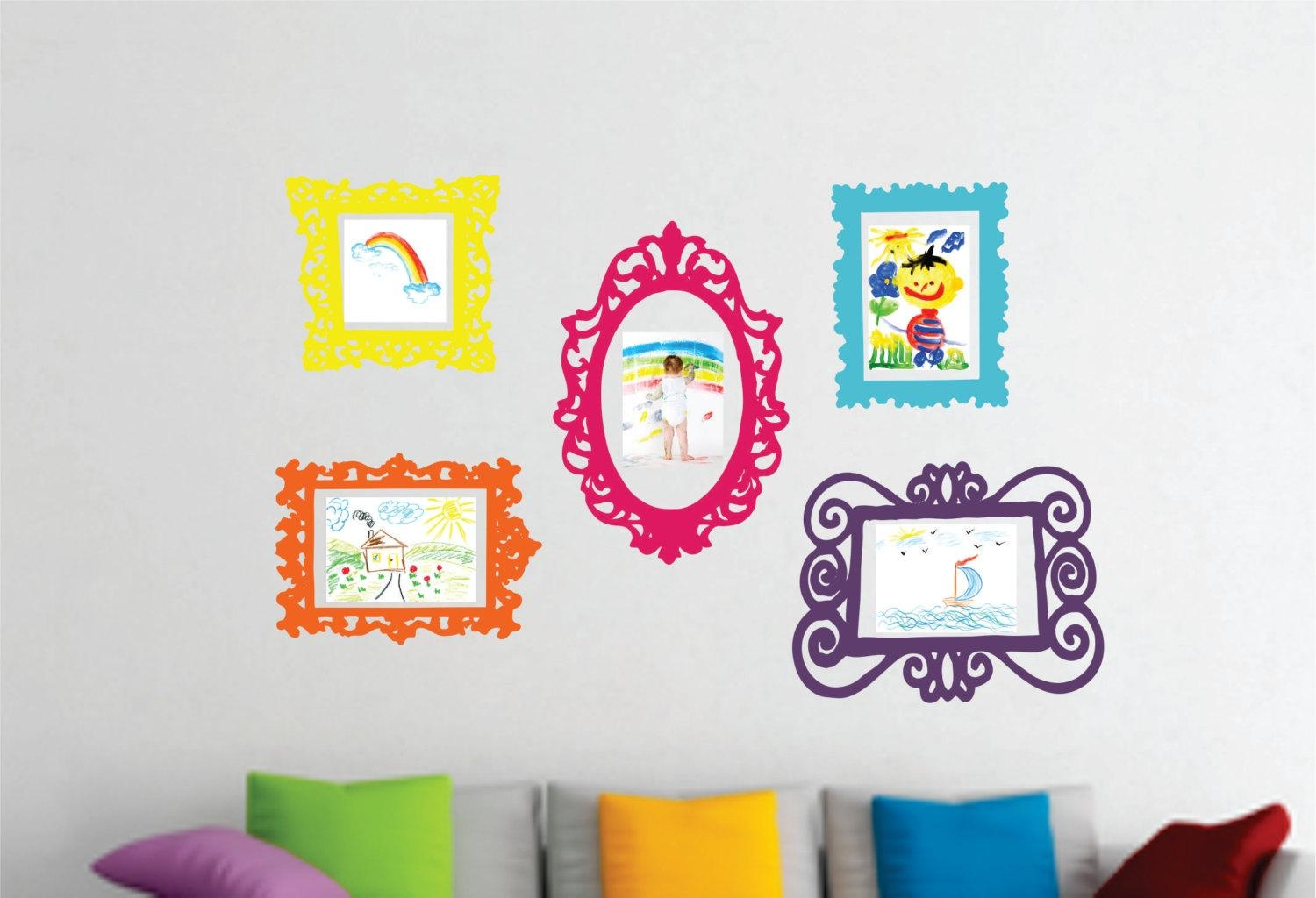 Wall Decal Set Of 5 Frames Playroom Decor Bedroom Wall Inside Etsy Childrens Wall Art (Image 19 of 20)