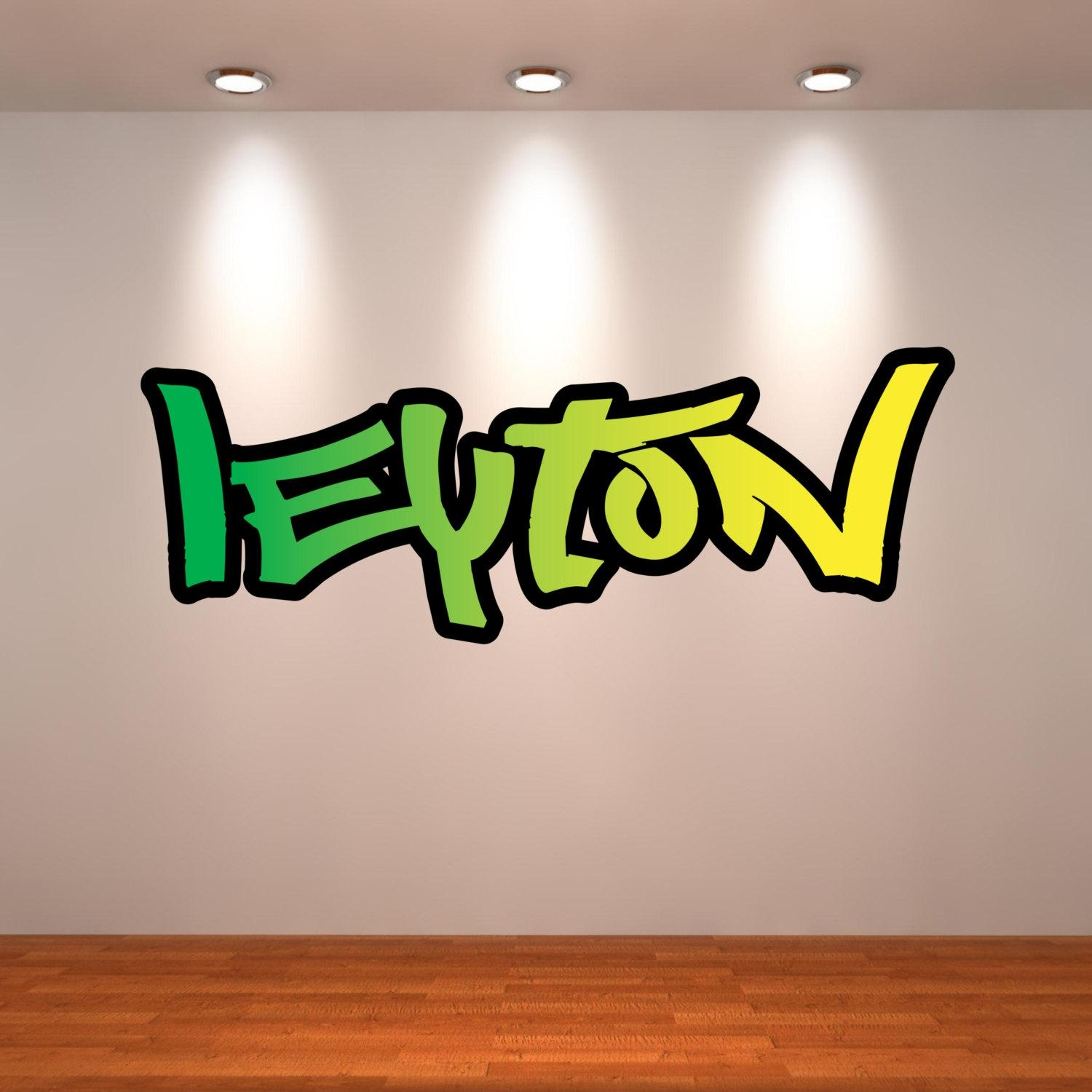 Wall Decals : Kids Coloring Graffiti Name Wall Decals 67 Inside Personalized Graffiti Wall Art (View 14 of 20)