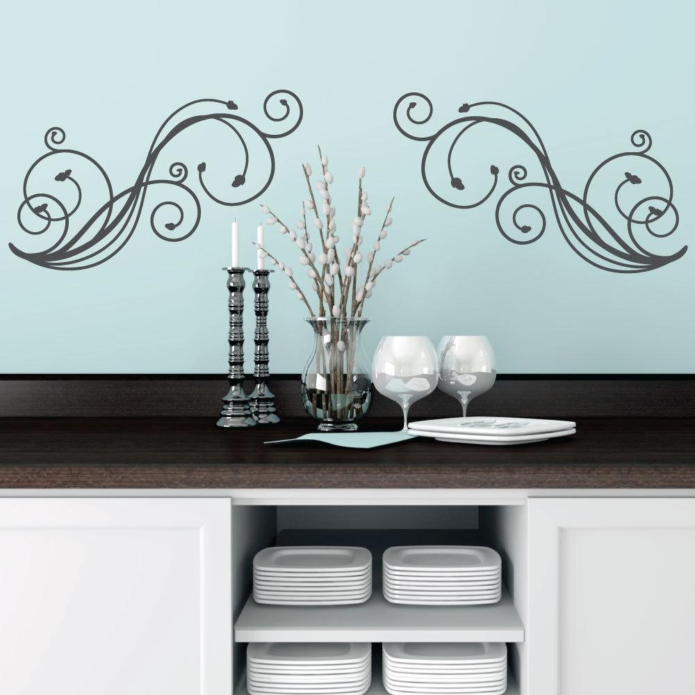 Wall Decals Stickers Wall Art Wall Decor Swirl With Regard To Black And White Damask Wall Art (Image 20 of 20)