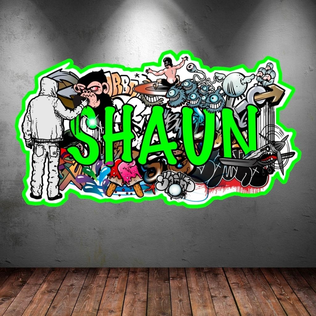 Wall Decals: Winsome Graffiti Name Wall Decals (Image 18 of 20)