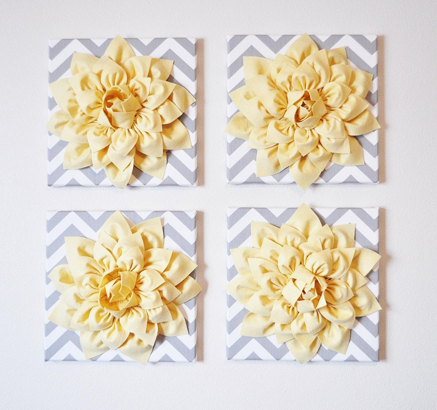 Wall Decor Set Of Four Light Yellow Dahlias On Gray And White Throughout Yellow And Gray Wall Art (Image 12 of 20)
