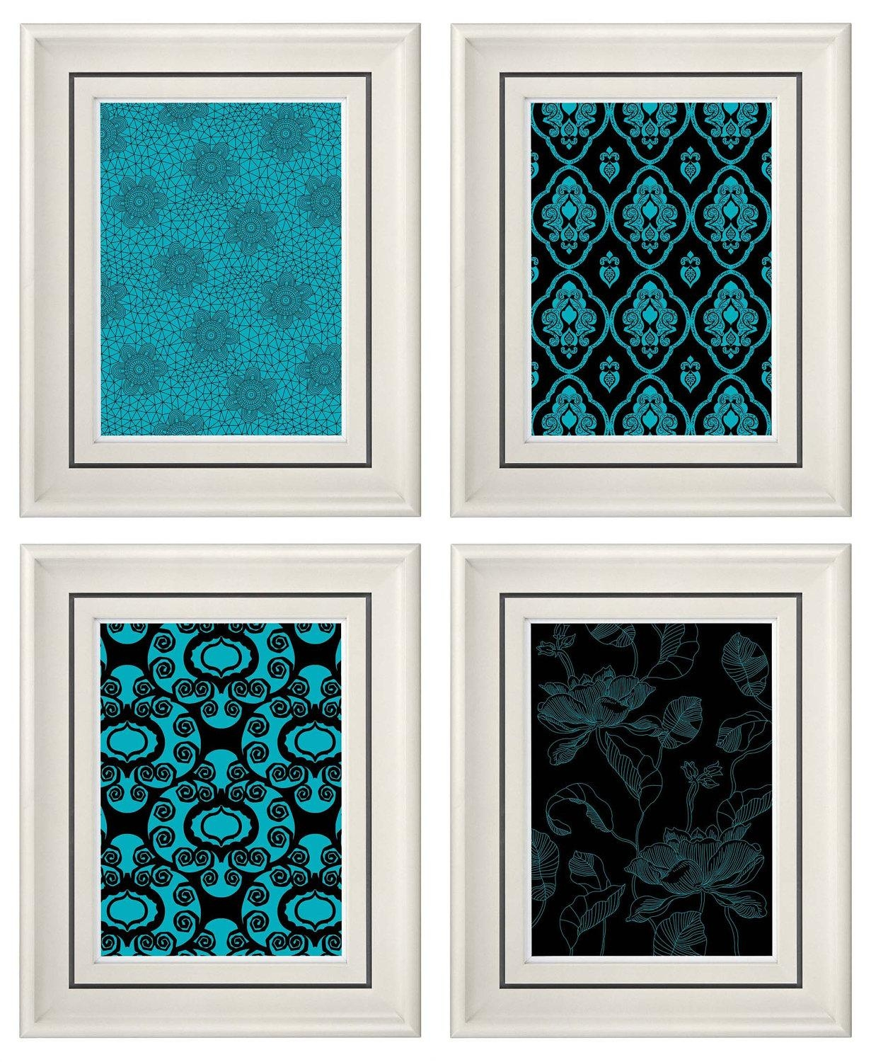 Wall Decor Turquoise – Home Design Regarding Turquoise And Black Wall Art (View 3 of 20)