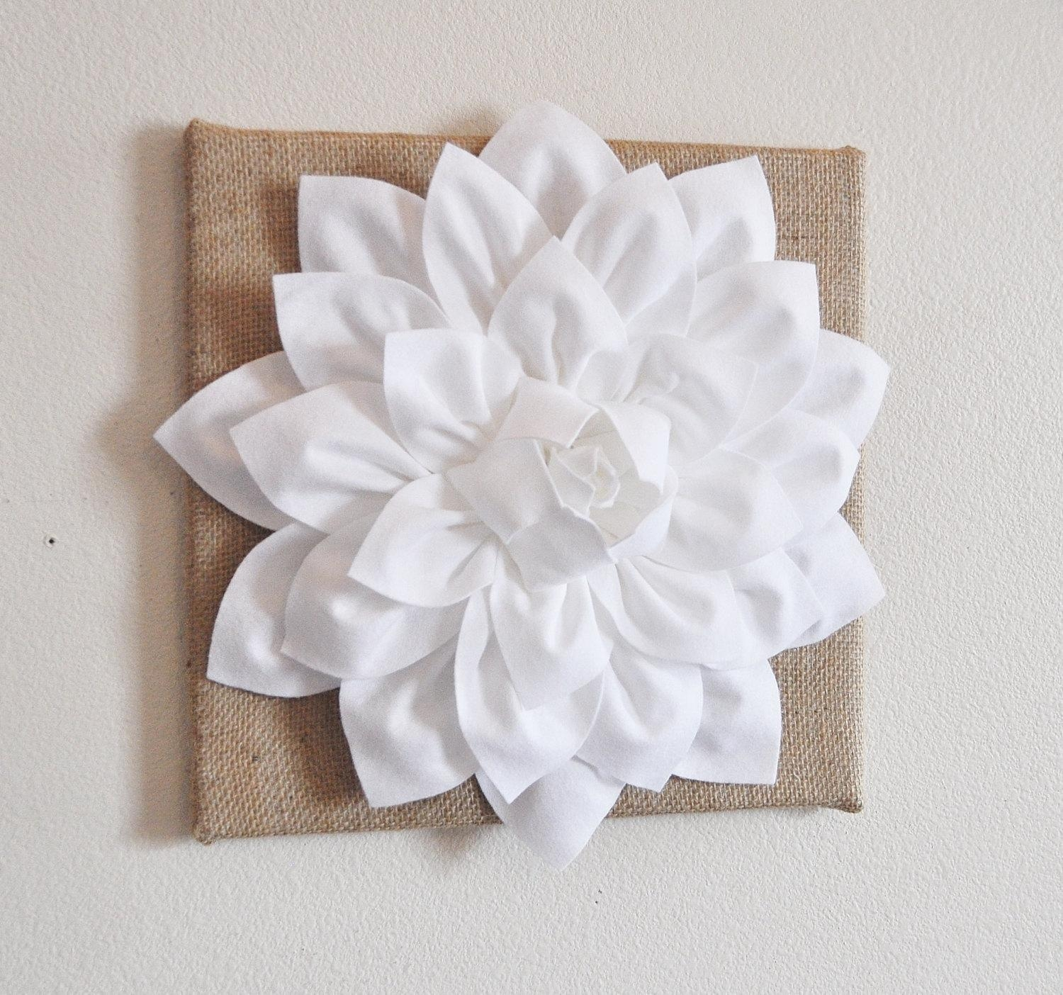 Wall Flower White Dahlia On Burlap 12 X12 Canvas Wall Intended For White 3D Wall Art (Image 18 of 20)