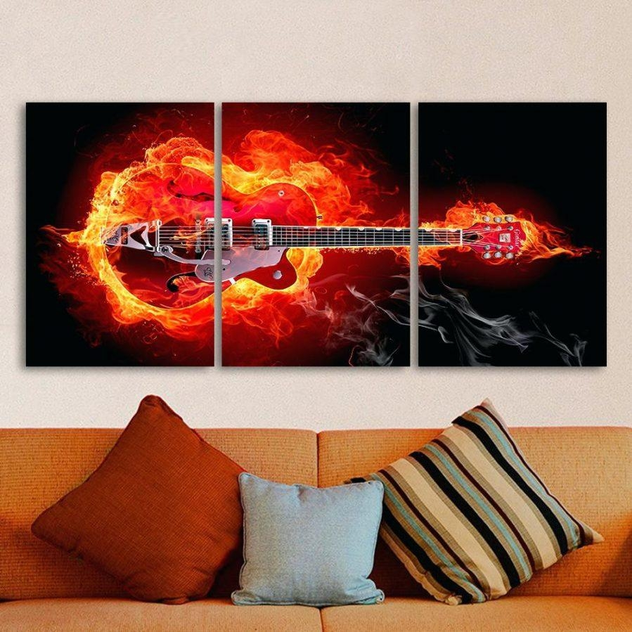 Wall Ideas : 3 Piece Wall Art Canada Three Piece Wall Art Teal 3 Intended For Guitar Canvas Wall Art (View 10 of 20)