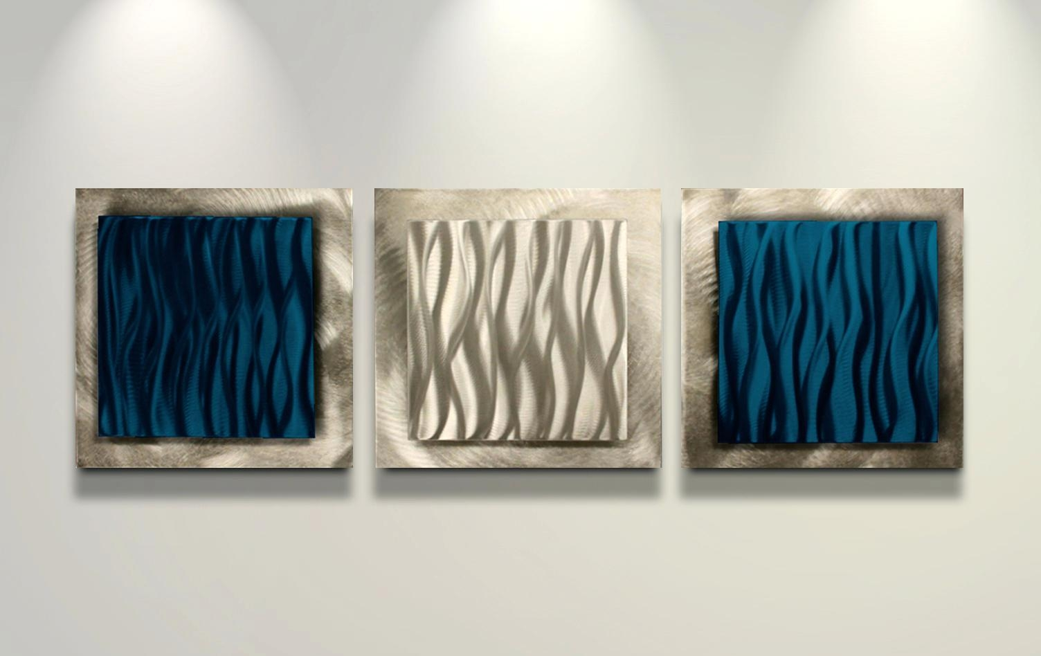 Wall Ideas : 42 Blue Metal Wall Art Blue Quarter Medallion Metal Throughout Blue And Silver Wall Art (Image 20 of 20)