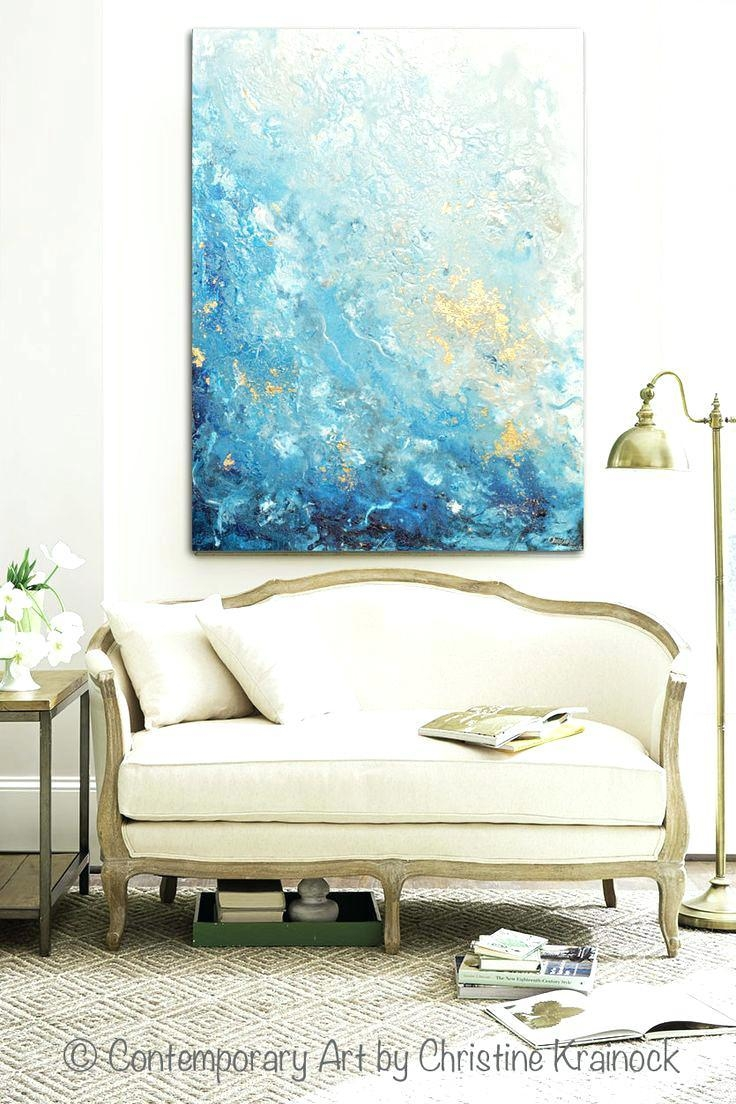 Wall Ideas : 5 Panels Blue Ocean Picture Spray Canvas Painting With Regard To Beach Theme Wall Art (Image 17 of 20)