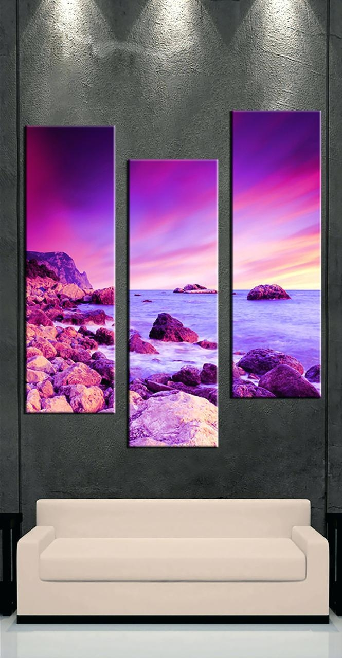 Wall Ideas : Cheap Purple Canvas Wall Art Large Purple Canvas Art Intended For 3 Piece Floral Canvas Wall Art (Image 20 of 20)