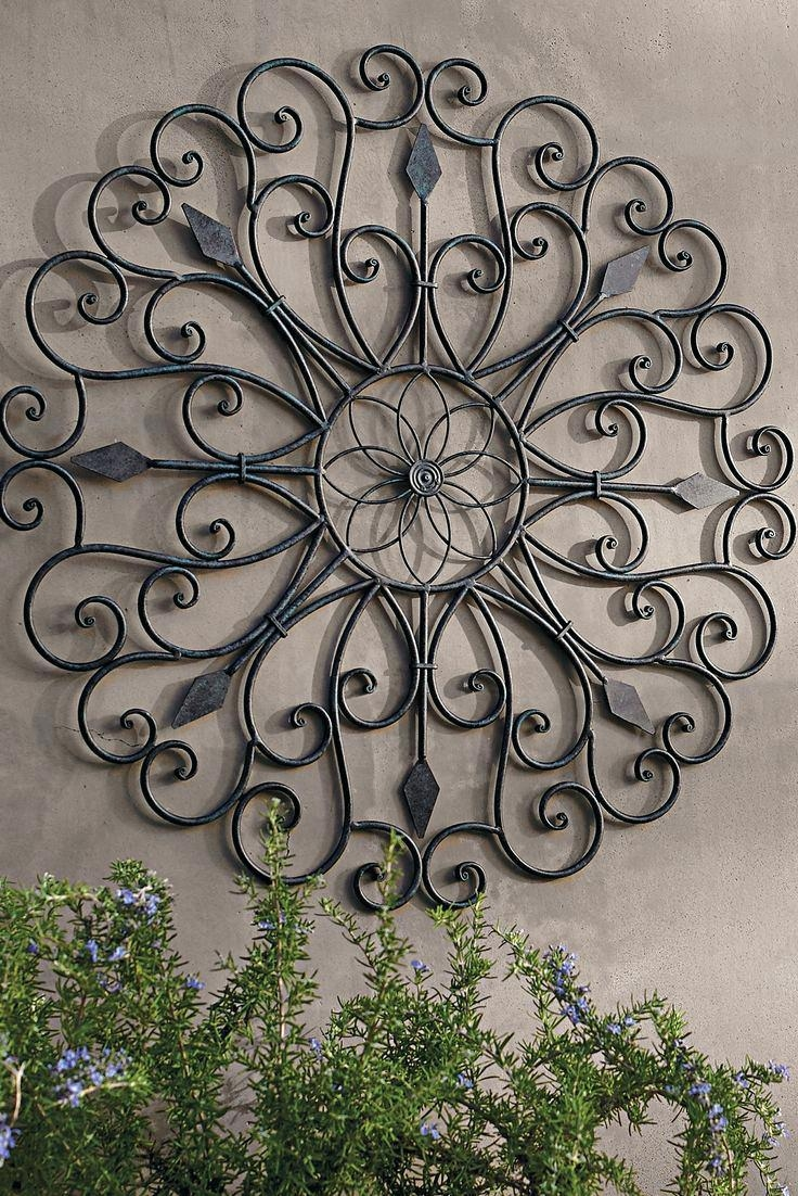 Wall Ideas : Ergonomic Wrought Iron Wall Decor For Outdoors Wall Inside Large  Metal Wall Art
