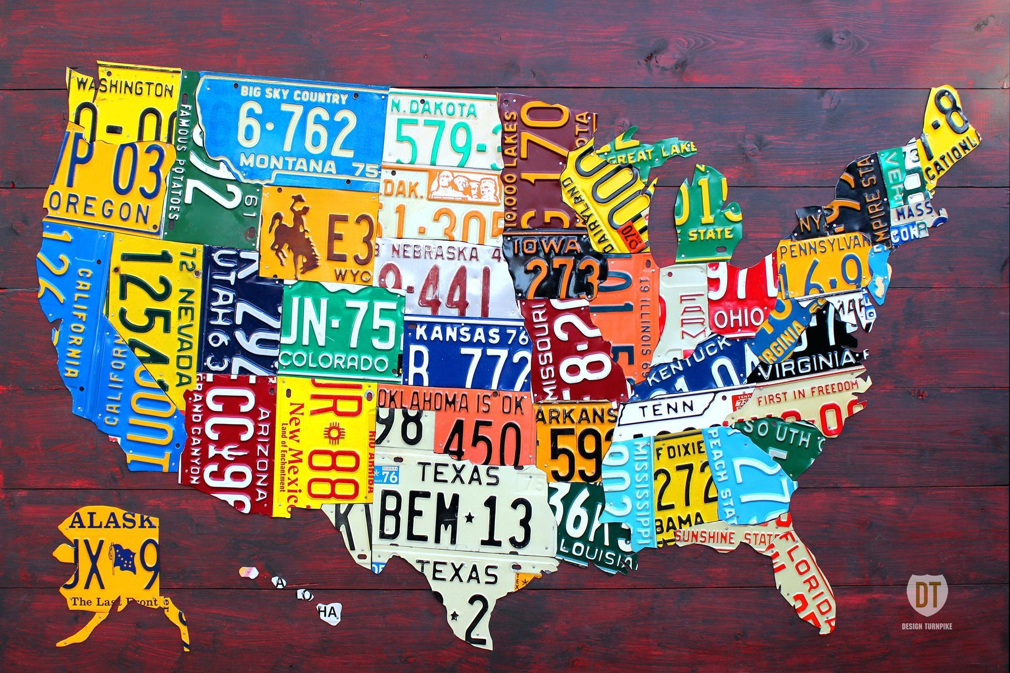 Wall Ideas : License Plate Wall Art Ideas License Plate Art Rustic Within United States Map Wall Art (View 15 of 21)