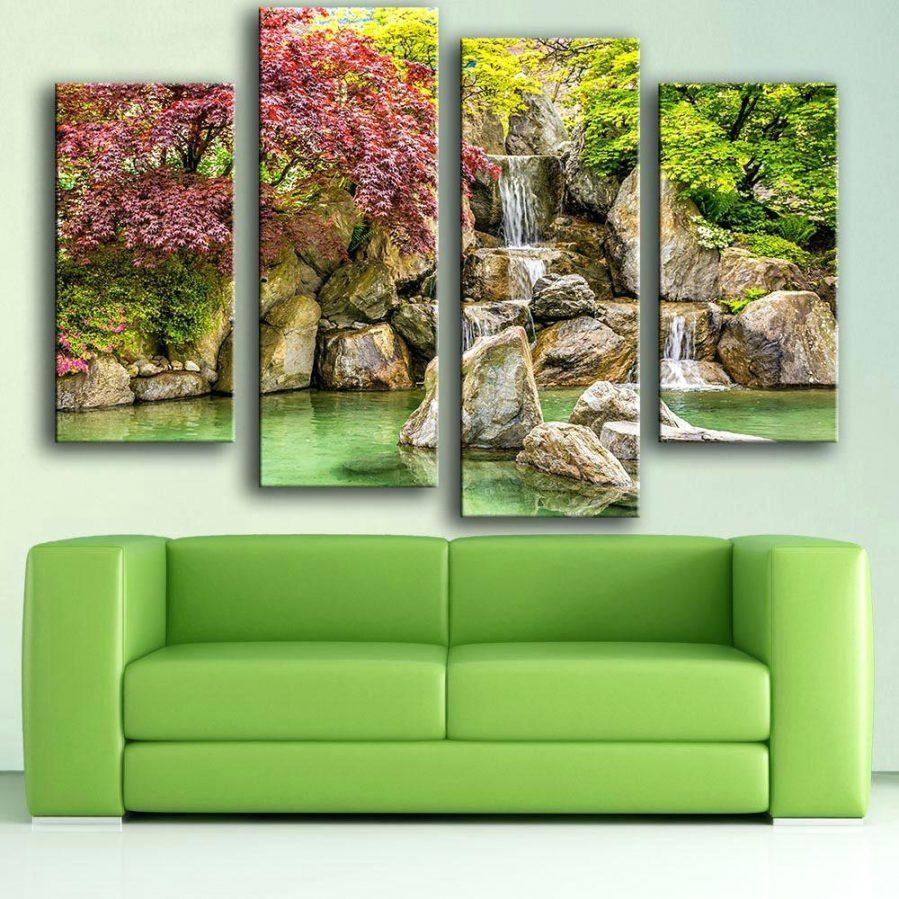 Wall Ideas : Lighted Waterfall Wall Art Home Decor 2 Piece Wall For Waterfall Wall Art (Image 17 of 20)