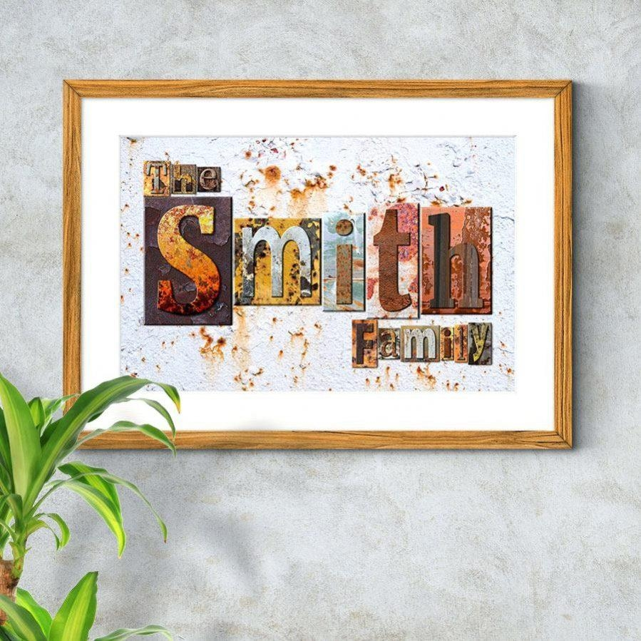 Wall Ideas : Personalised Family Name Rustic Wall Art Diy Family In Personalized Last Name Wall Art (View 12 of 20)