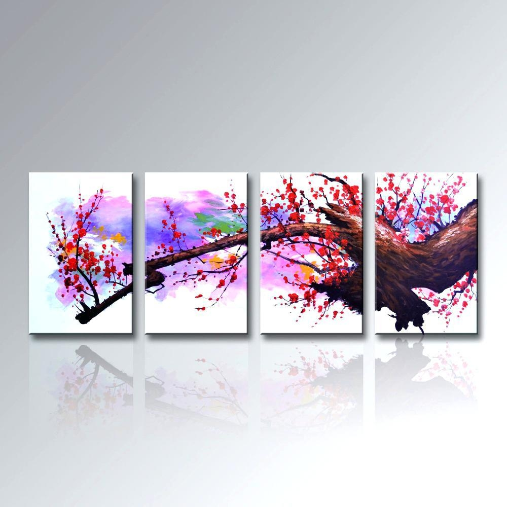 Wall Ideas : Plum Flower Canvas Art Plum Floral Canvas Wall Art Inside Plum Wall Art (Image 19 of 20)