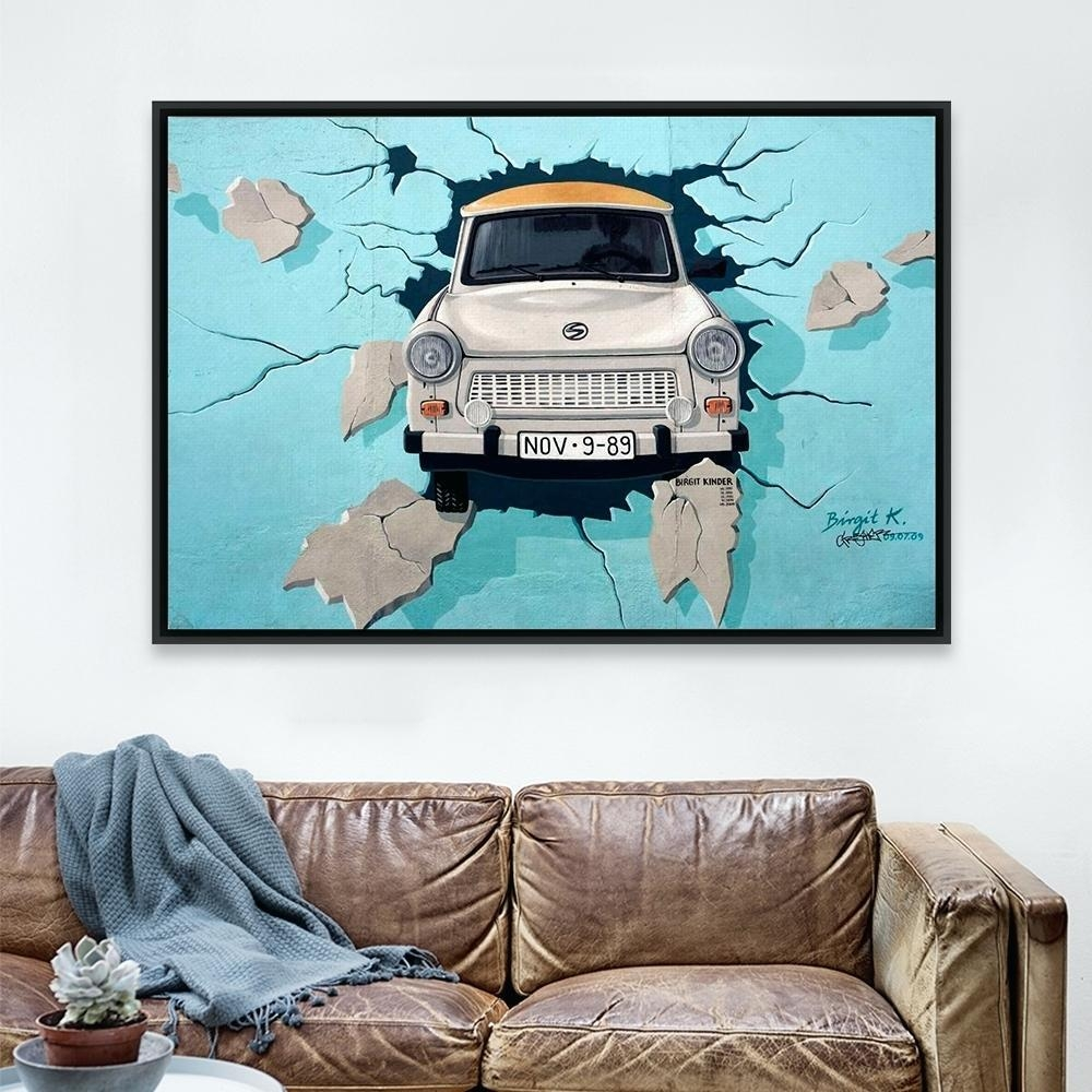 Wall Ideas : Vintage Retro 3D Street Graffiti Pop Car Canvas A4 with Large Retro Wall Art